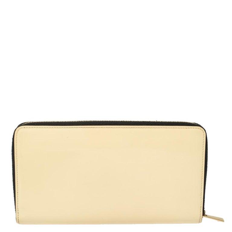 Orange Celine Cream Patent Leather Zip Around Wallet For Sale