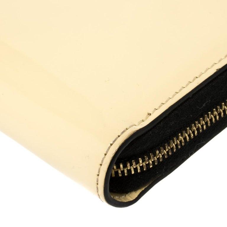 Celine Cream Patent Leather Zip Around Wallet For Sale 1