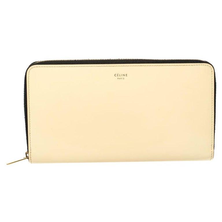 Celine Cream Patent Leather Zip Around Wallet For Sale