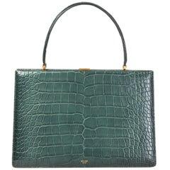CELINE Cypress green CROCODILE MEDIUM CLASP Shoulder Bag