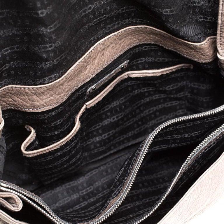 Women's Celine Dark Beige Wrinkled Leather Flap Shoulder Bag For Sale