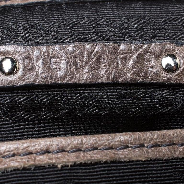 Celine Dark Beige Wrinkled Leather Flap Shoulder Bag For Sale 1