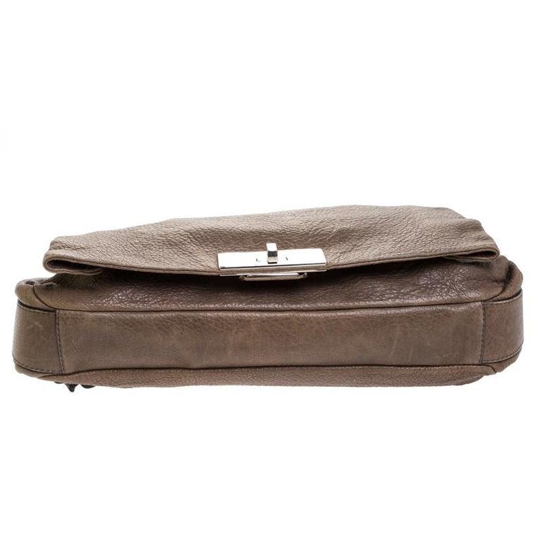 Celine Dark Beige Wrinkled Leather Flap Shoulder Bag For Sale 2