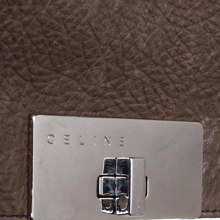 Celine Dark Beige Wrinkled Leather Flap Shoulder Bag For Sale 3