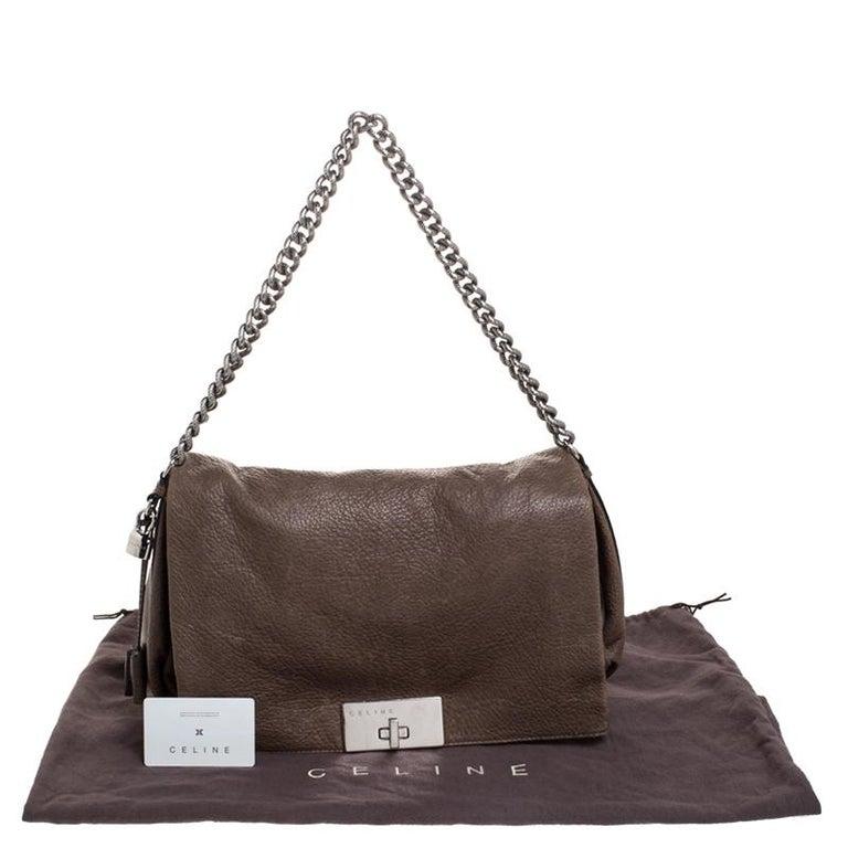 Celine Dark Beige Wrinkled Leather Flap Shoulder Bag For Sale 4