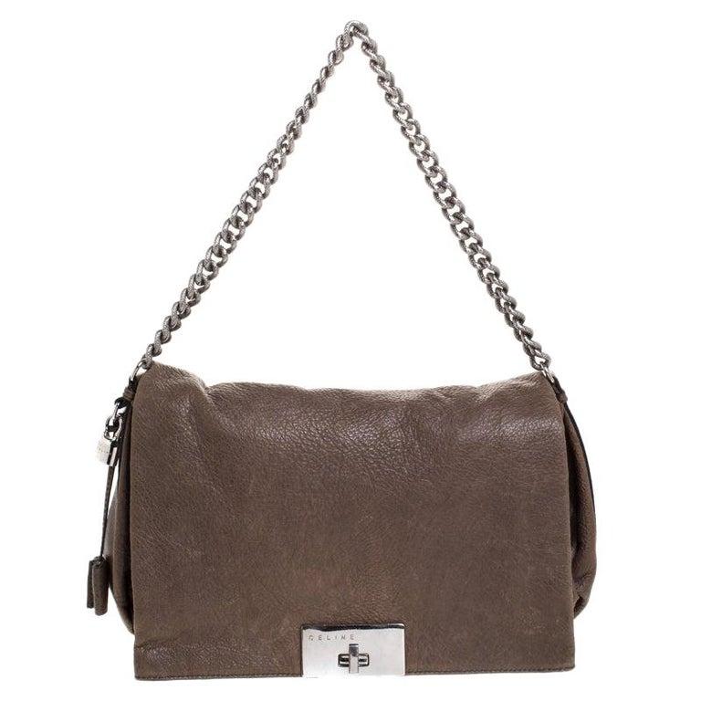 Celine Dark Beige Wrinkled Leather Flap Shoulder Bag For Sale