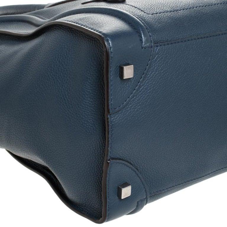 Celine Dark Blue Leather Mini Luggage Tote For Sale 5
