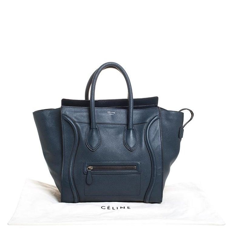 Celine Dark Blue Leather Mini Luggage Tote For Sale 7