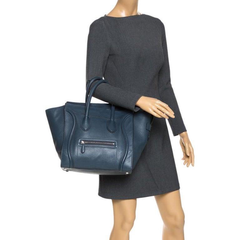 Black Celine Dark Blue Leather Mini Luggage Tote For Sale