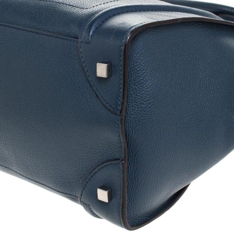 Celine Dark Blue Leather Mini Luggage Tote In Good Condition For Sale In Dubai, Al Qouz 2