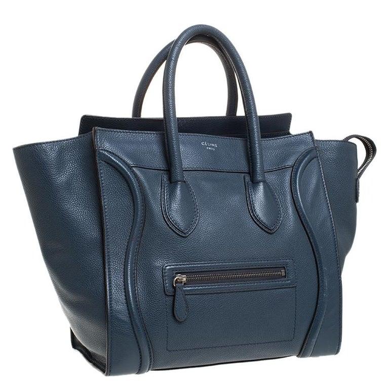 Women's Celine Dark Blue Leather Mini Luggage Tote For Sale