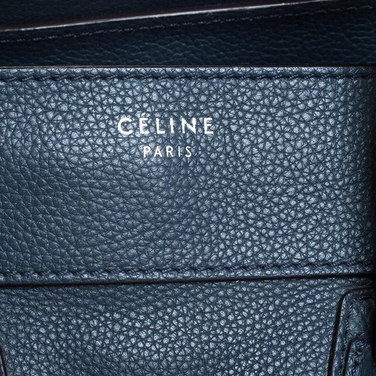 Celine Dark Blue Leather Mini Luggage Tote For Sale 1