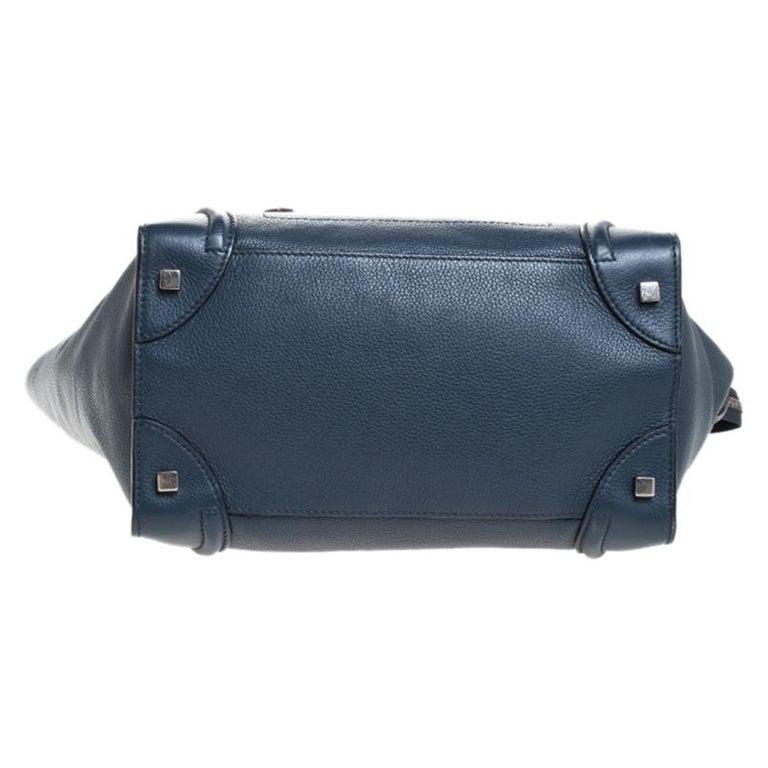 Celine Dark Blue Leather Mini Luggage Tote For Sale 2