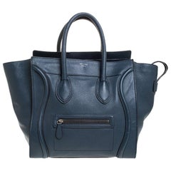 Celine Dark Blue Leather Mini Luggage Tote