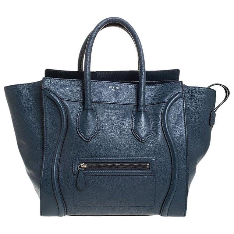 Celine Dark Blue Leather Mini Luggage Tote For Sale