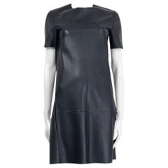 CELINE dark blue leather Short Sleeve Shift Dress 38 S