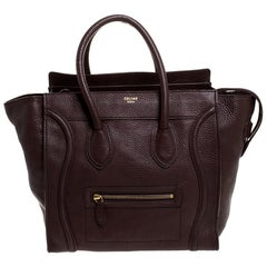 Celine Dark Brown Leather Mini Luggage Tote