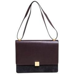 Celine Dark Burgundy/Grey Leather And Suede Medium Case Shoulder Bag