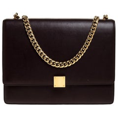 Celine Dark Burgundy Leather Large Case Chain Flap Shoulder Bag