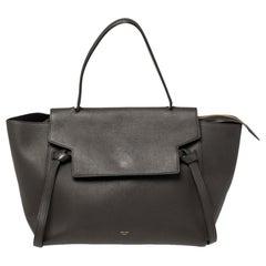 Celine Dark Grey Leather Small Belt Top Handle Bag