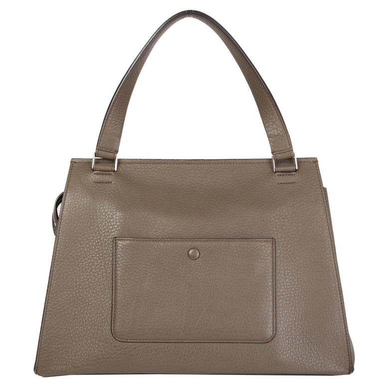 Gray CELINE dark khaki leather EDGE MEDIUM Shoulder Bag For Sale