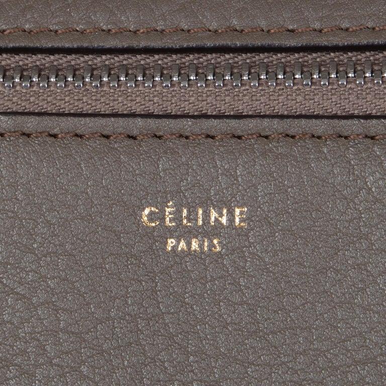 CELINE dark khaki leather EDGE MEDIUM Shoulder Bag For Sale 2