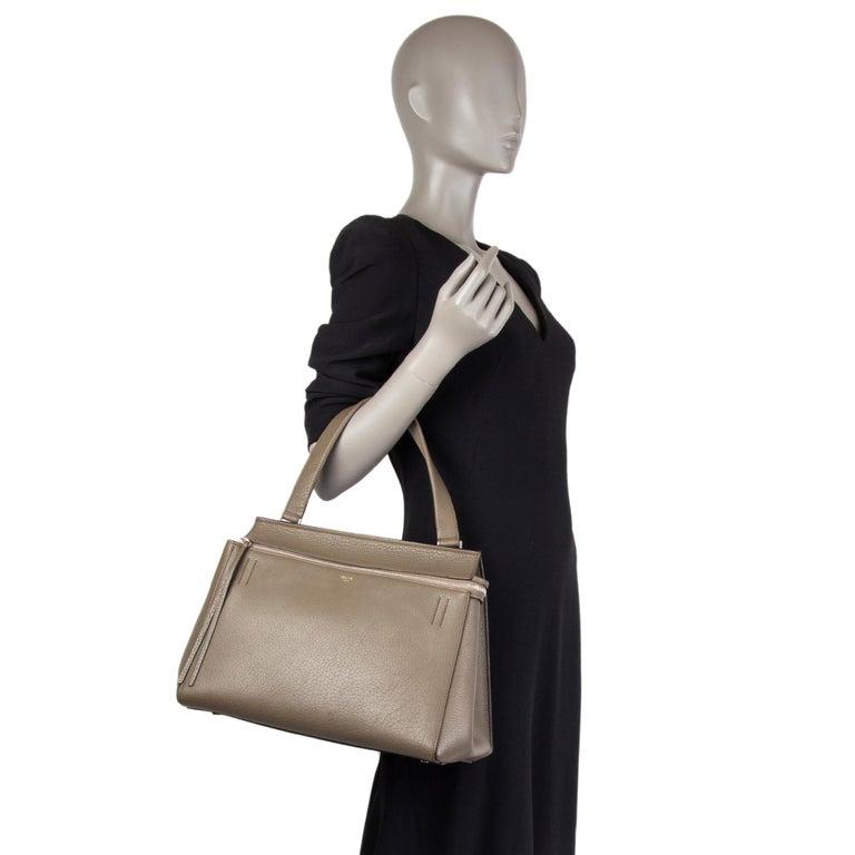 CELINE dark khaki leather EDGE MEDIUM Shoulder Bag For Sale 3
