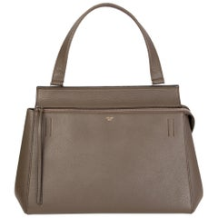 CELINE dark khaki leather EDGE MEDIUM Shoulder Bag