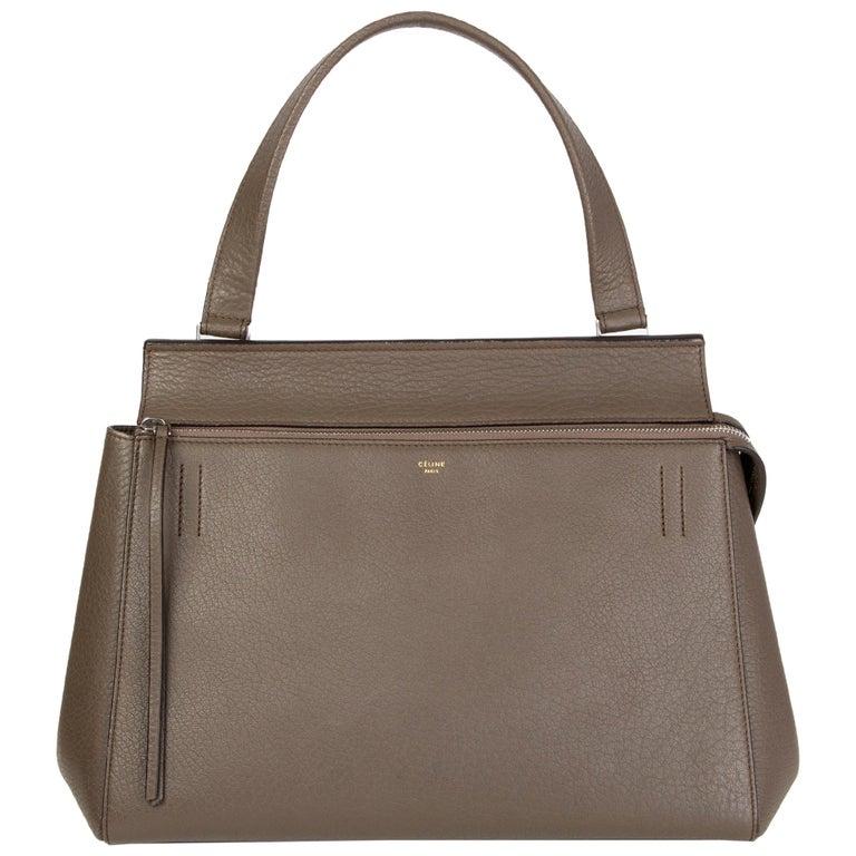 CELINE dark khaki leather EDGE MEDIUM Shoulder Bag For Sale