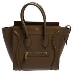 Céline Dark Olive Green Leather Micro Luggage Tote