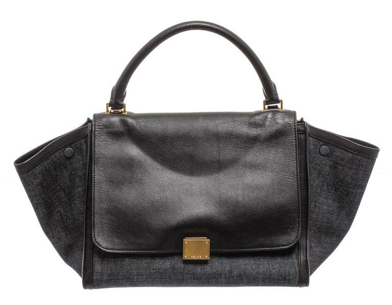 Celine Denim Black Leather Medium Trapeze Shoulder Bag  In Good Condition For Sale In Irvine, CA