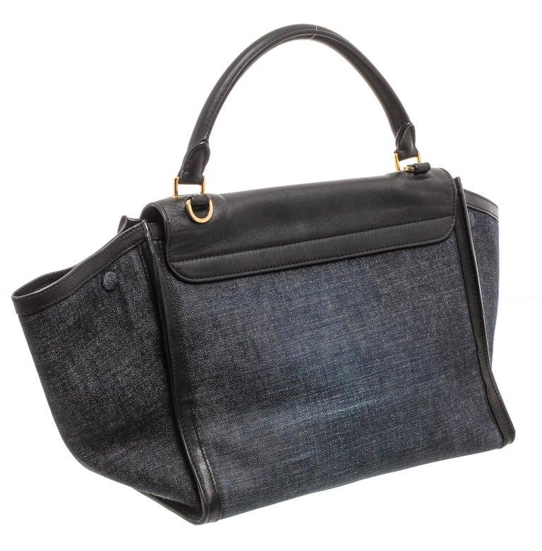 Women's or Men's Celine Denim Black Leather Medium Trapeze Shoulder Bag  For Sale