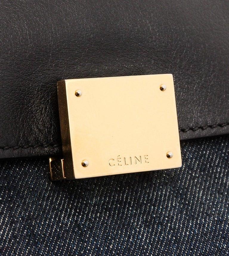 Women's Celine Denim Black Leather Medium Trapeze Shoulder Bag For Sale