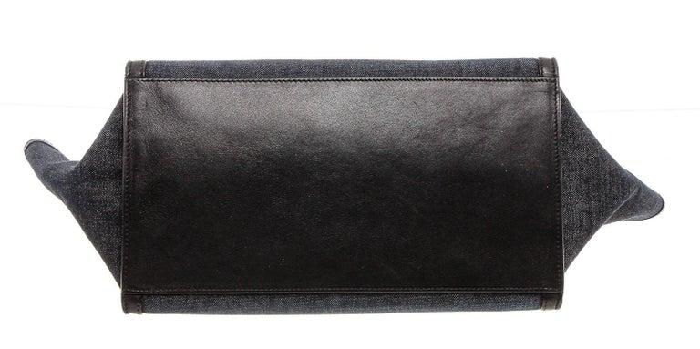 Celine Denim Black Leather Medium Trapeze Shoulder Bag For Sale 1