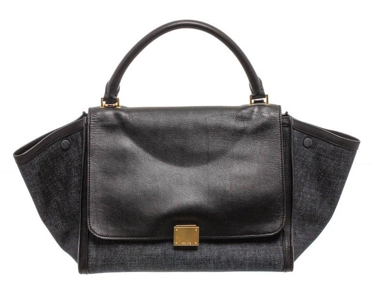 Celine Denim Black Leather Medium Trapeze Shoulder Bag For Sale 3
