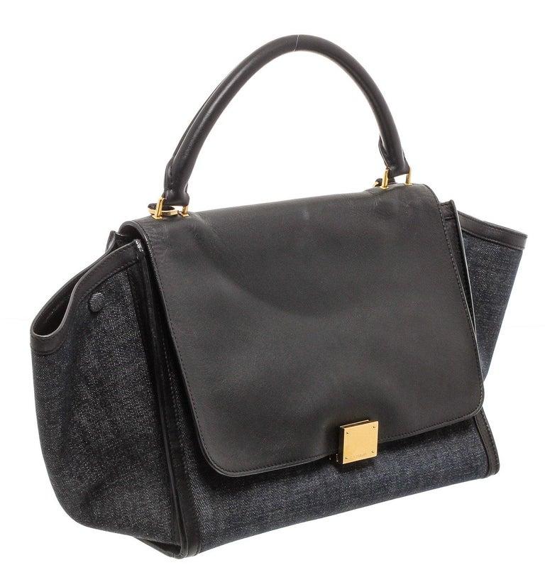 Celine Denim Black Leather Medium Trapeze Shoulder Bag For Sale 4