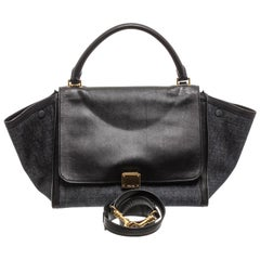Celine Denim Black Leather Medium Trapeze Shoulder Bag