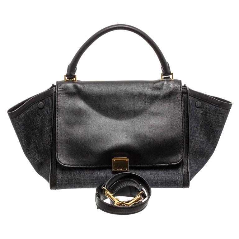 Celine Denim Black Leather Medium Trapeze Shoulder Bag  For Sale
