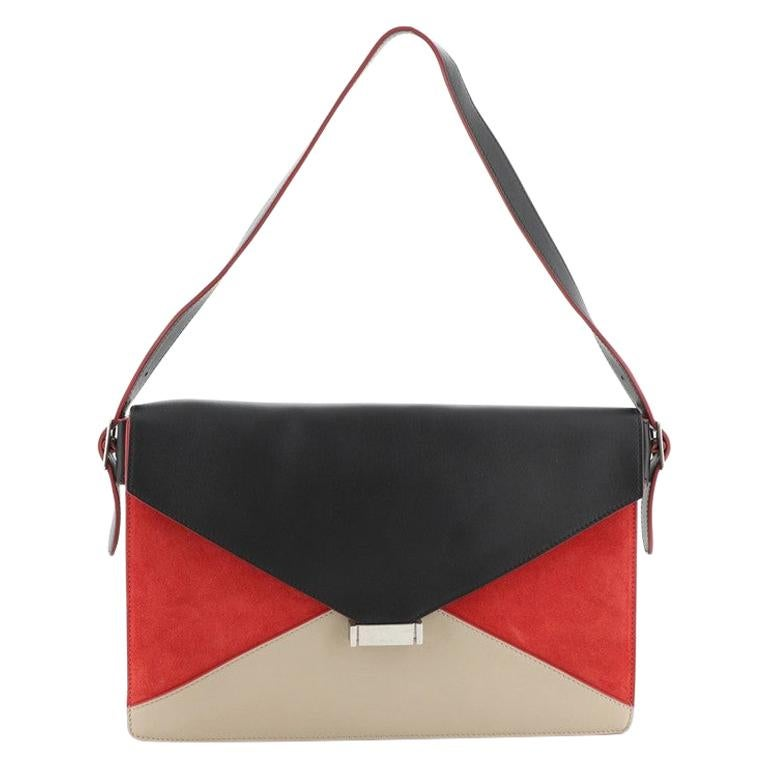 Celine Diamond Shoulder Bag Leather and Suede Large For Sale
