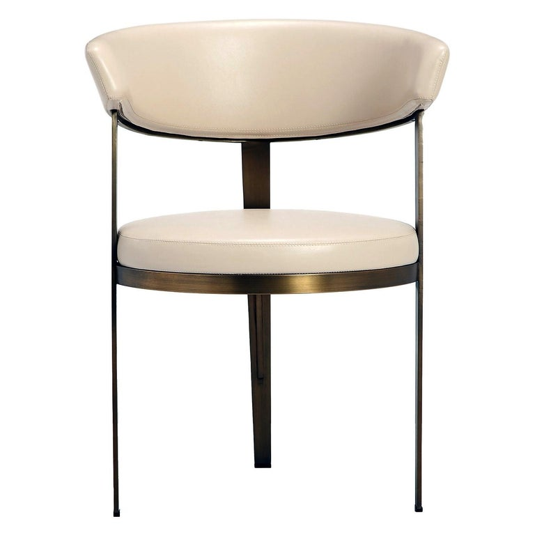 Mid-Century Modern Set of Six, Celine Dining Chairs in Antique Bronze with Cream Leather For Sale