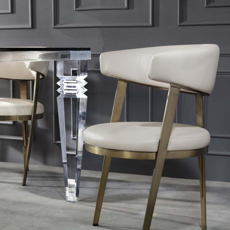 European Set of Six, Celine Dining Chairs in Antique Bronze with Cream Leather For Sale