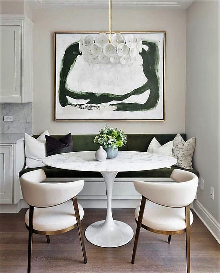 Set of Six, Celine Dining Chairs in Antique Bronze with Cream Leather In New Condition For Sale In New York, NY