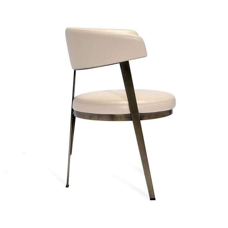 Contemporary Set of Six, Celine Dining Chairs in Antique Bronze with Cream Leather For Sale