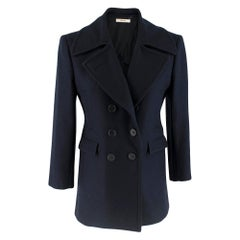 Celine Double Breasted Wool Navy Coat SIZE S