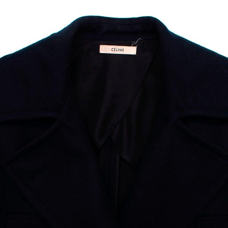 Celine Double Breasted Wool Navy Coat - Size US 6 For Sale 5