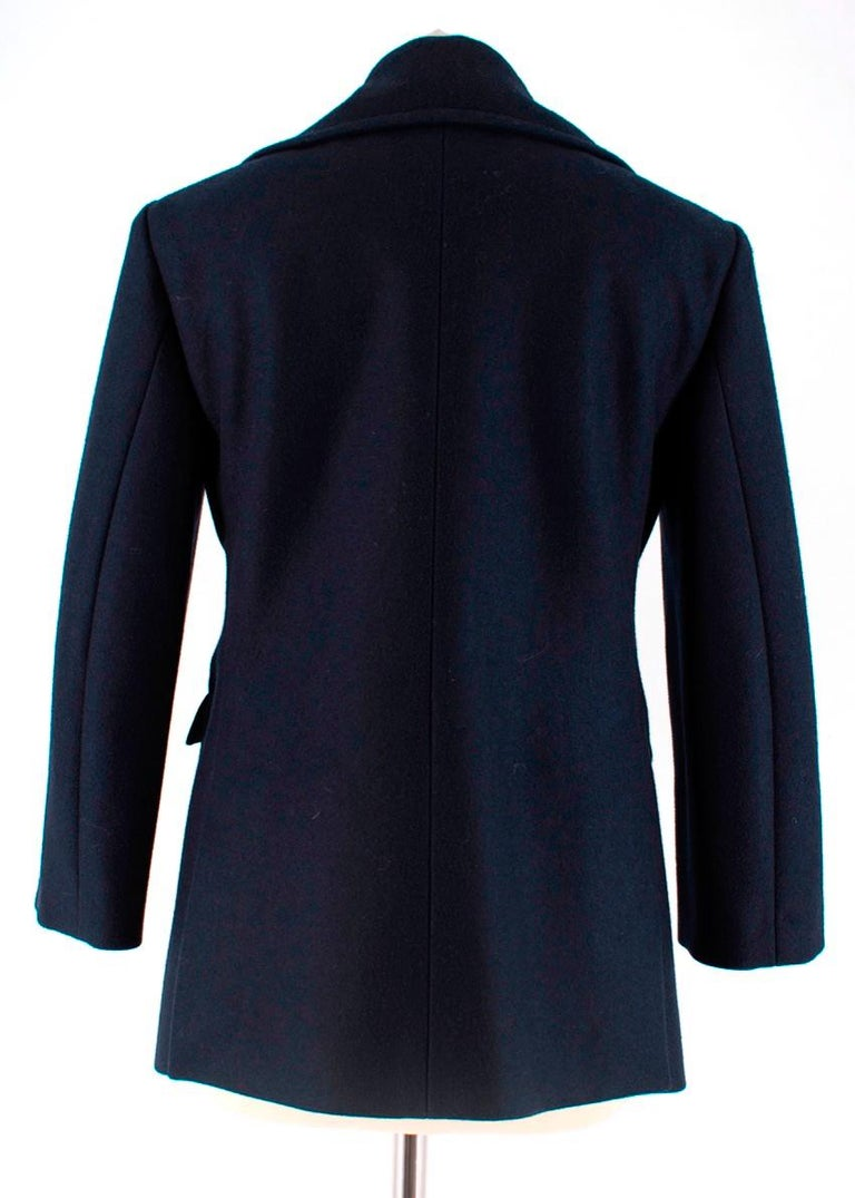 Black Celine Double Breasted Wool Navy Coat - Size US 6 For Sale