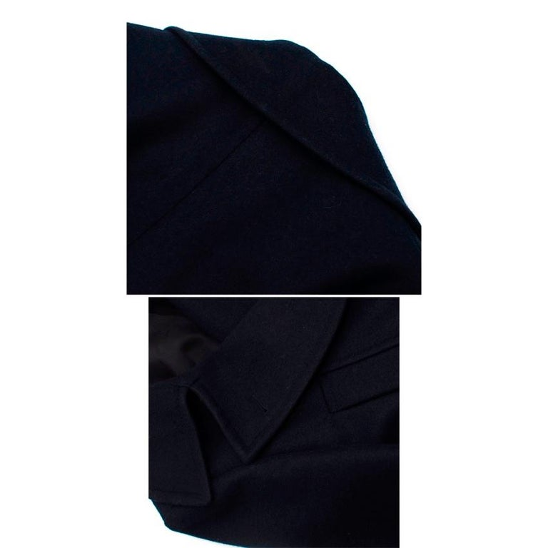 Celine Double Breasted Wool Navy Coat - Size US 6 In Excellent Condition For Sale In London, GB