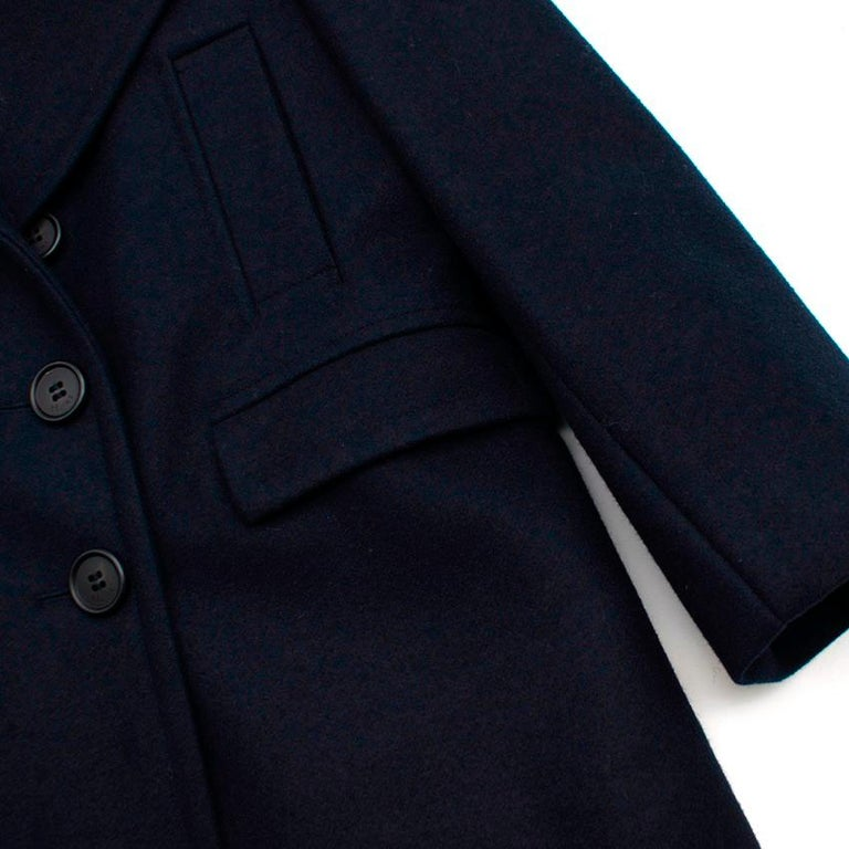 Celine Double Breasted Wool Navy Coat - Size US 6 For Sale 2