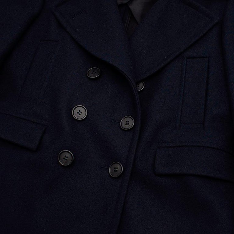 Celine Double Breasted Wool Navy Coat - Size US 6 For Sale 3