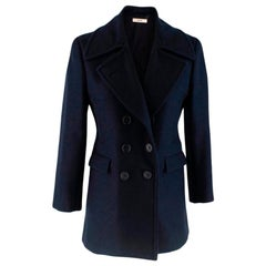 Celine Double Breasted Wool Navy Coat - Size US 6